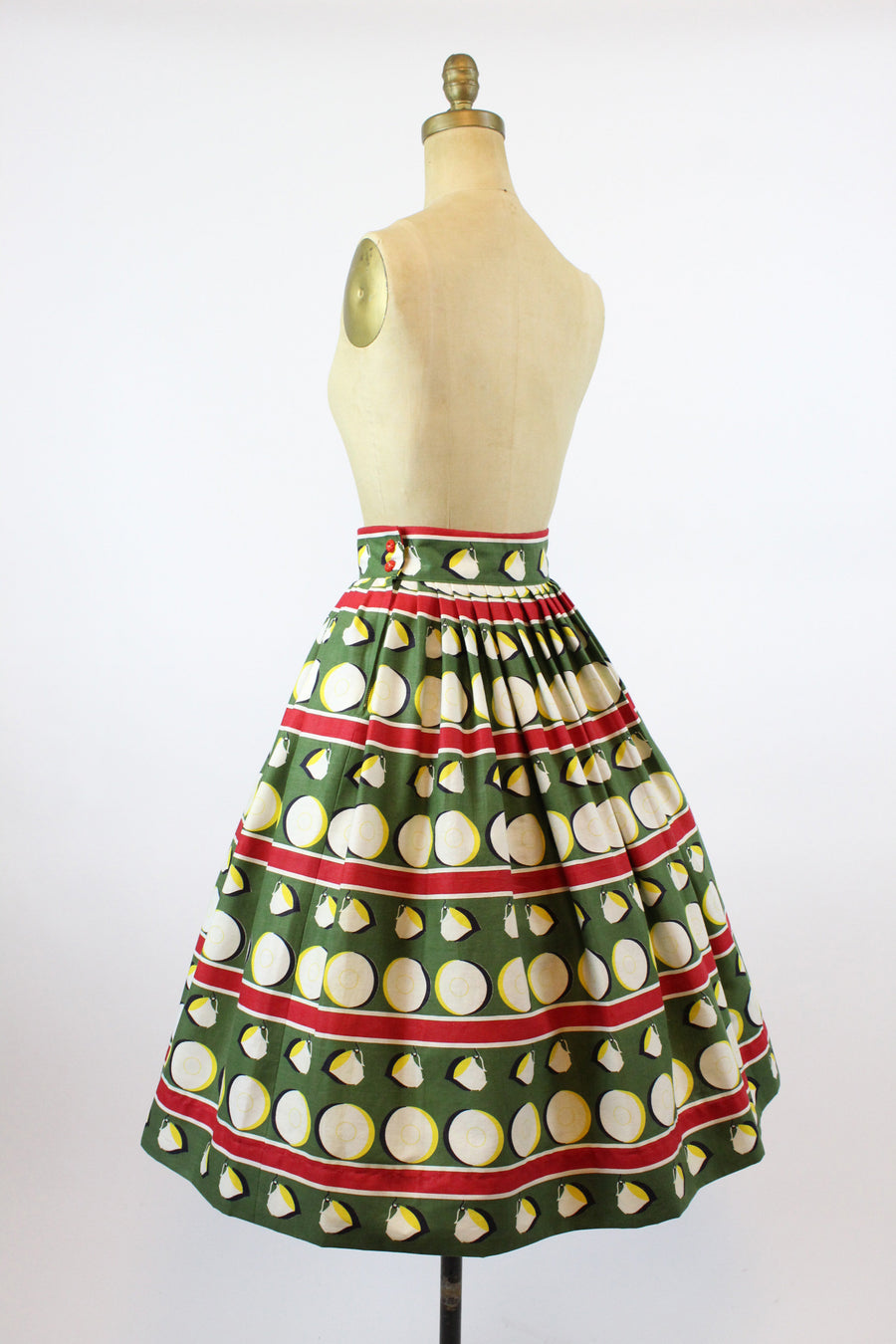 1950s cup and saucer print skirt xs | novelty print  skirt | new