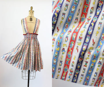 1930s novelty disney suspender dress | 1940s snow white and the seven dwarves  | xs small