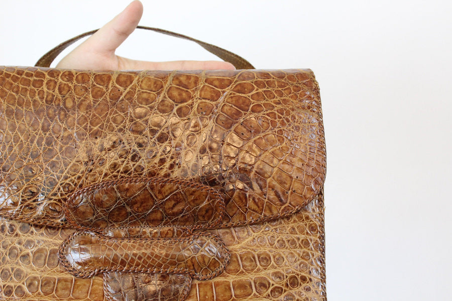 1950s leather handbag | snakeskin clutch purse | satchel