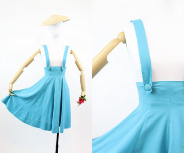 1940s suspender dress xxs | vintage turquoise blue cotton dress