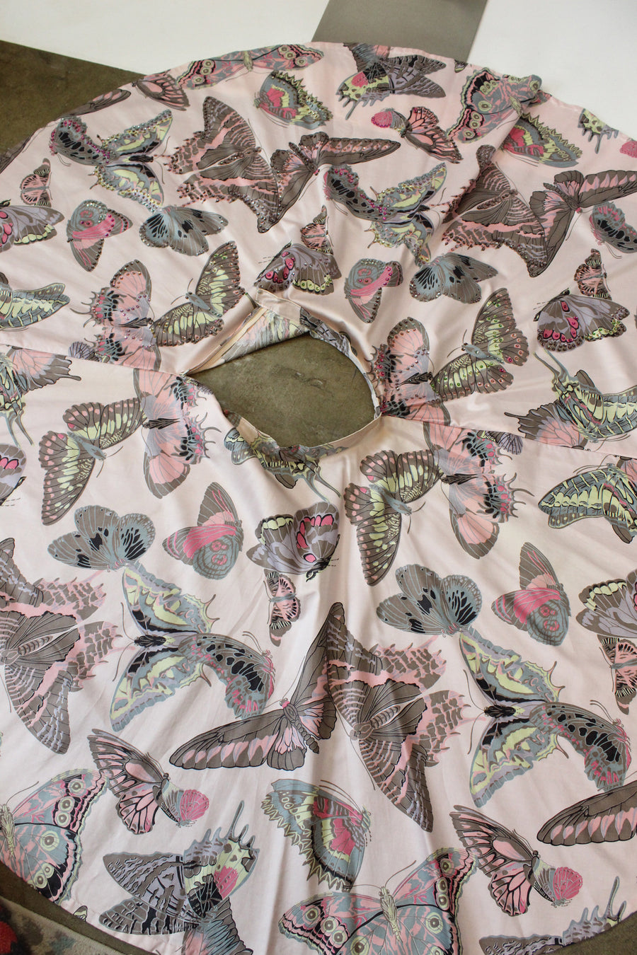 1950s butterfly circle skirt xxs | novelty print vintage skirt