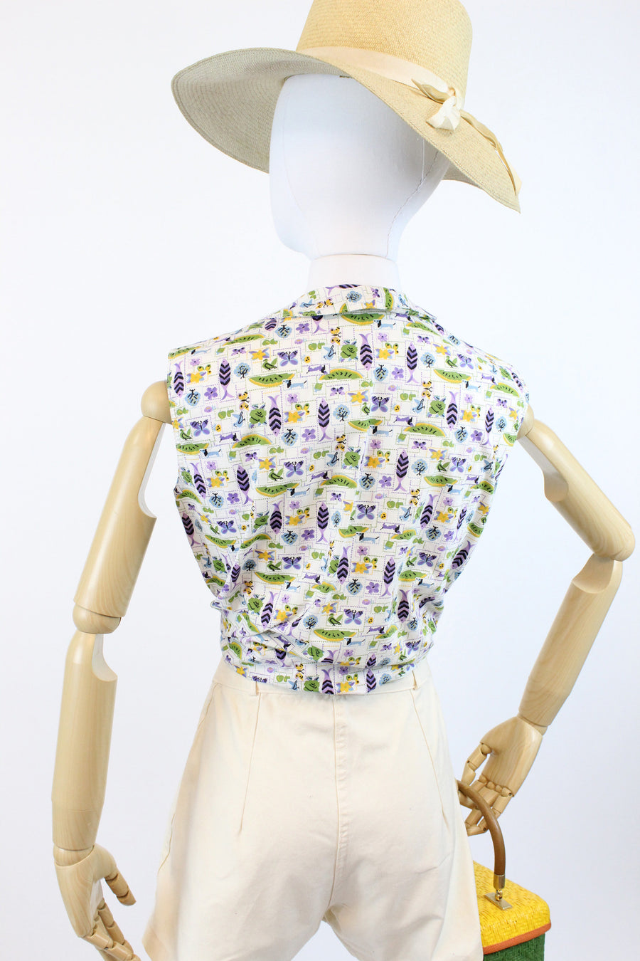 1960s birds and butterflies print blouse small | vintage cotton novelty print top