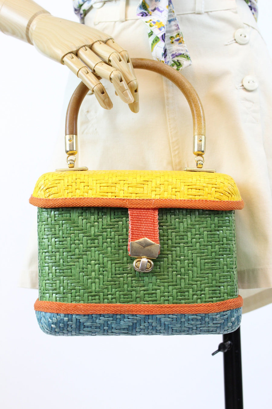 1960s wicker handbag purse | box bag made in italy