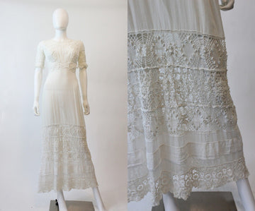 antique edwardian dress | 1900s lace gown | xxs