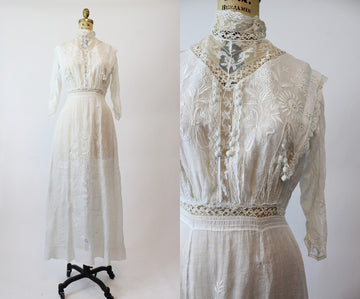 antique lace edwardian dress | 1900s bow and floral embroidered gown | xs