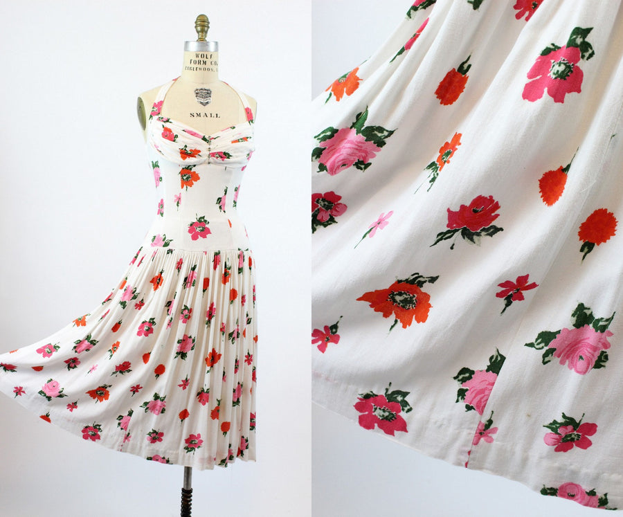 1950s rose and poppy print linen halter dress | vintage floral sun dress | xs