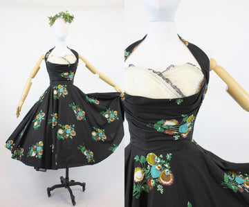 1950s floral halter dress xs | petal bustline cotton organza