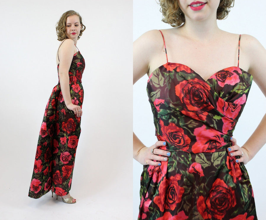 1950s Sylvan Rich for Martini silk dress xs | couture vintage rose print gown | new