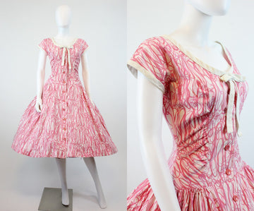 1950s Pat Hartley swirl dress small | vintage cotton button front dress | new in