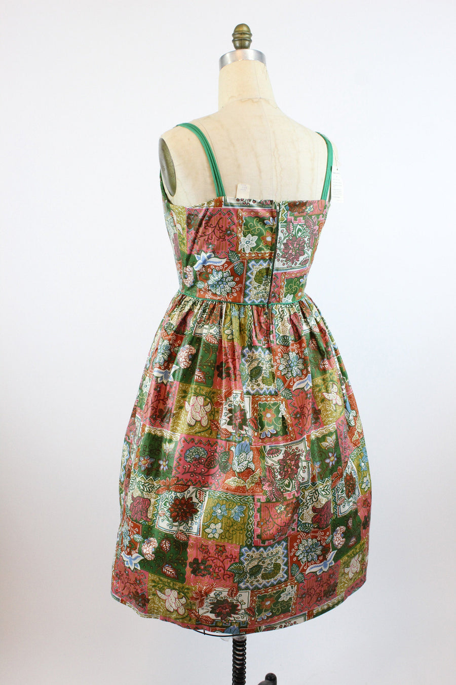 1950s deadstock cotton dress large | vintage batik print cotton dress new