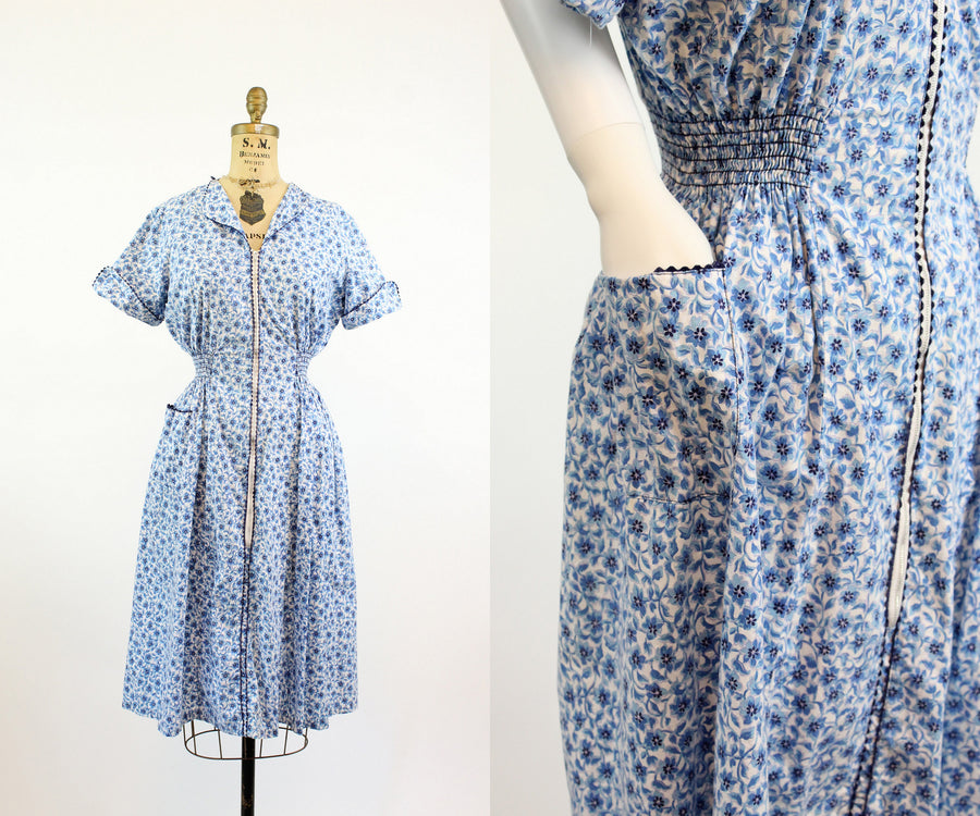1940s princess peggy feedsack dress small medium | vintage floral day dress