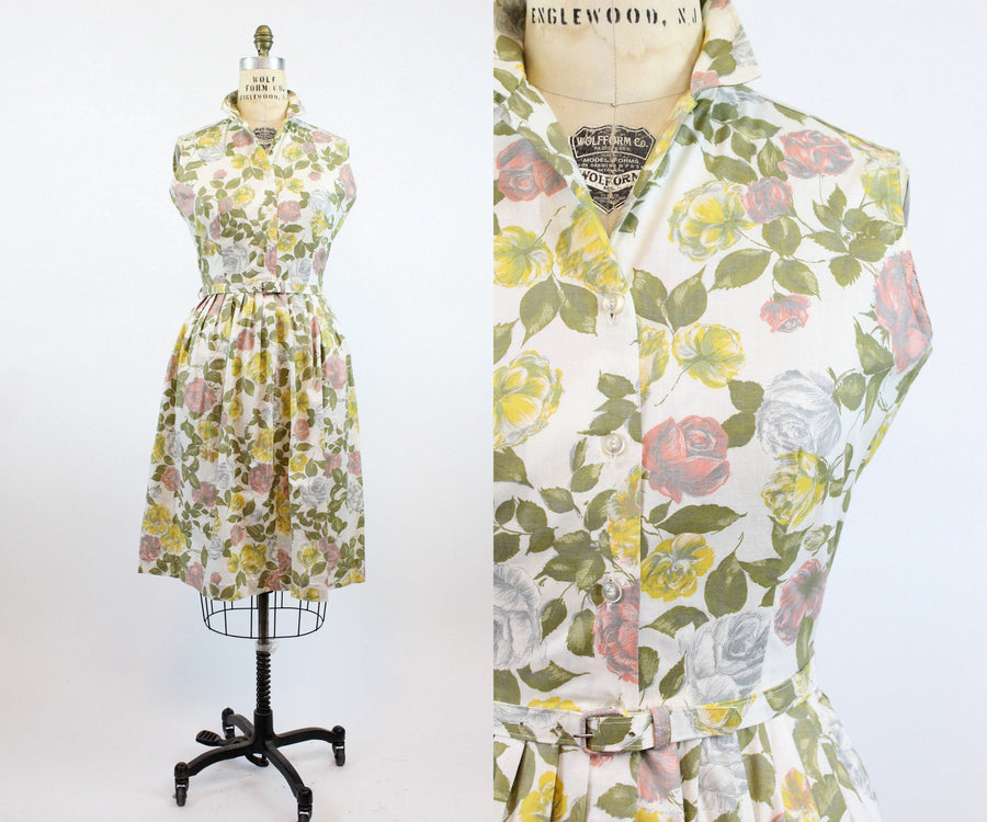 1950s deadstock rose cotton dress large | vintage cotton dress | new in