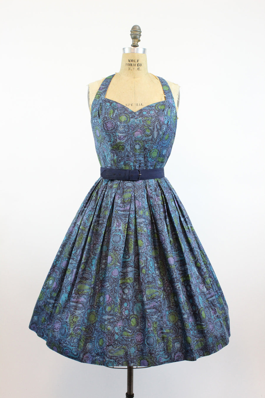1950s Alix of Miami halter dress medium | vintage floral cage back cotton sun dress | new in