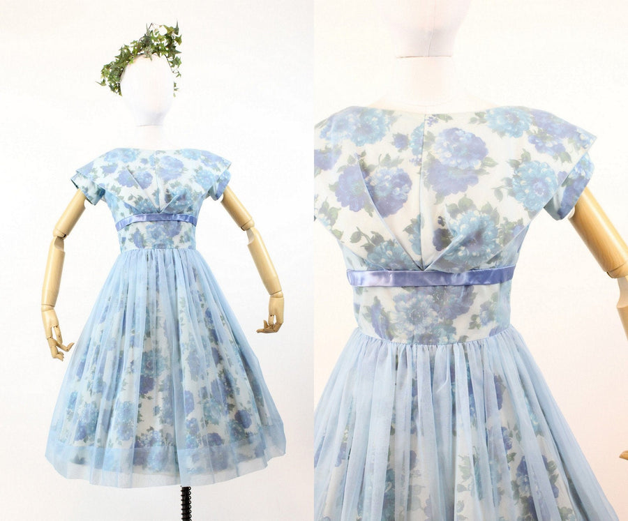 1950s blue rose dress | chiffon polished cotton sailor collar | xs