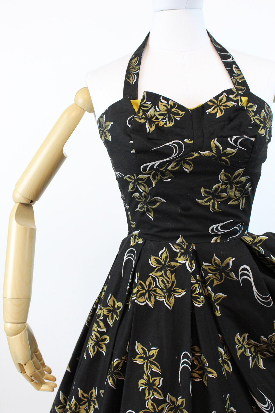 1950s hawaiian dress halter strapless xs | vintage gold metallic dress | new in