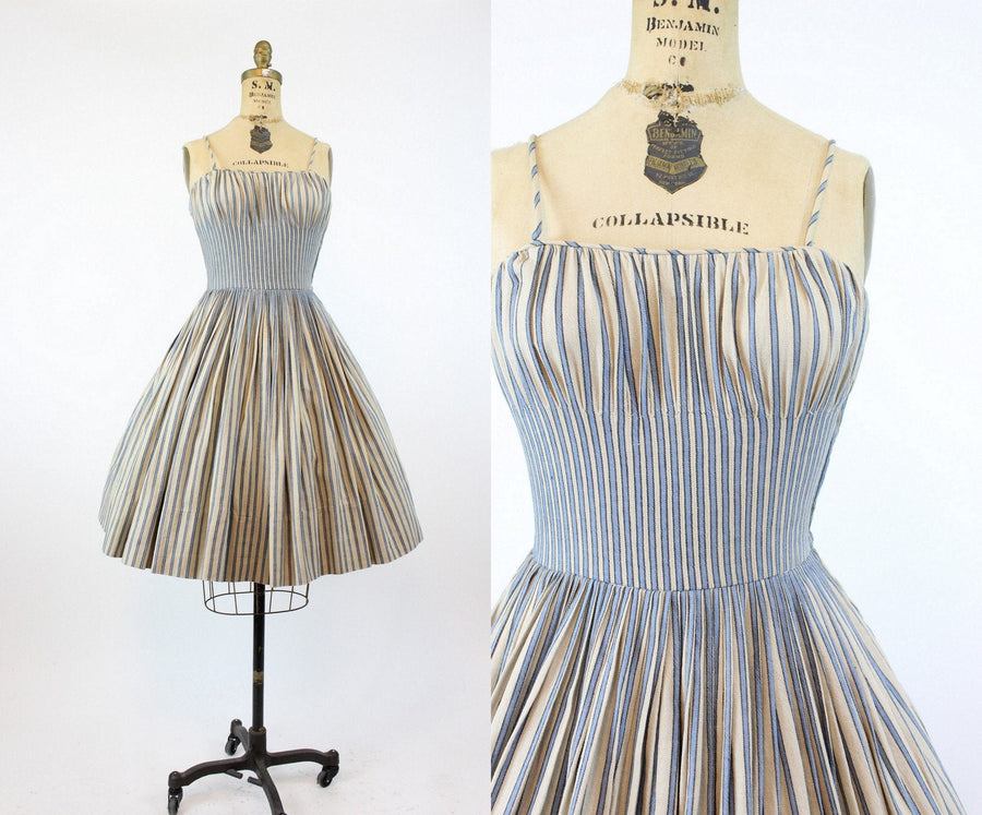 1950s Del Mar striped linen dress xs | vintage sun dress