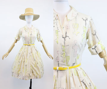 1950s dress form print dress xs | vintage novelty print cotton shirtwaist dress