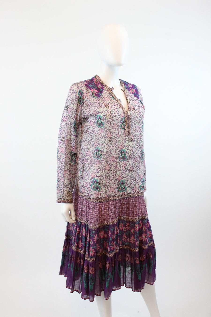 1970s Adini caftan cactus print small  | vintage indian cotton dress | 70s festival smock