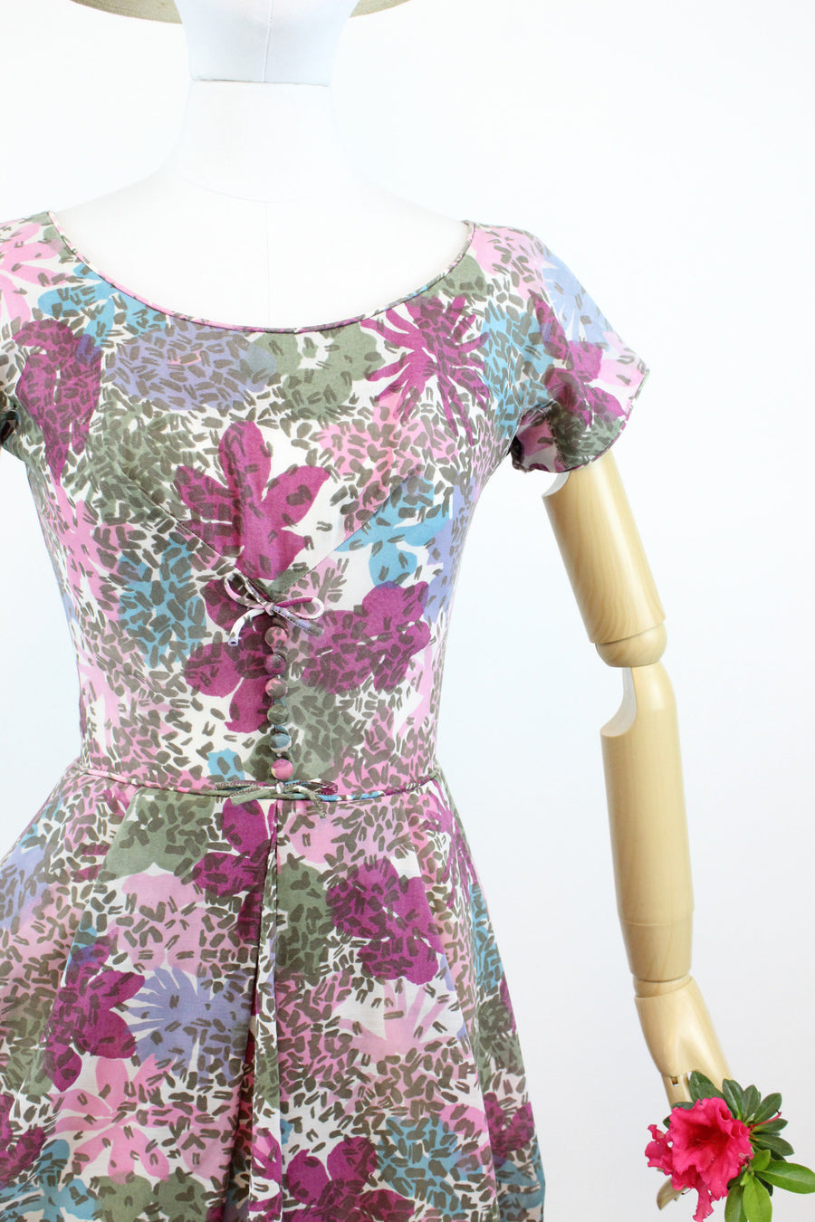 1950s cotton voille dress | floral a line | xs - small