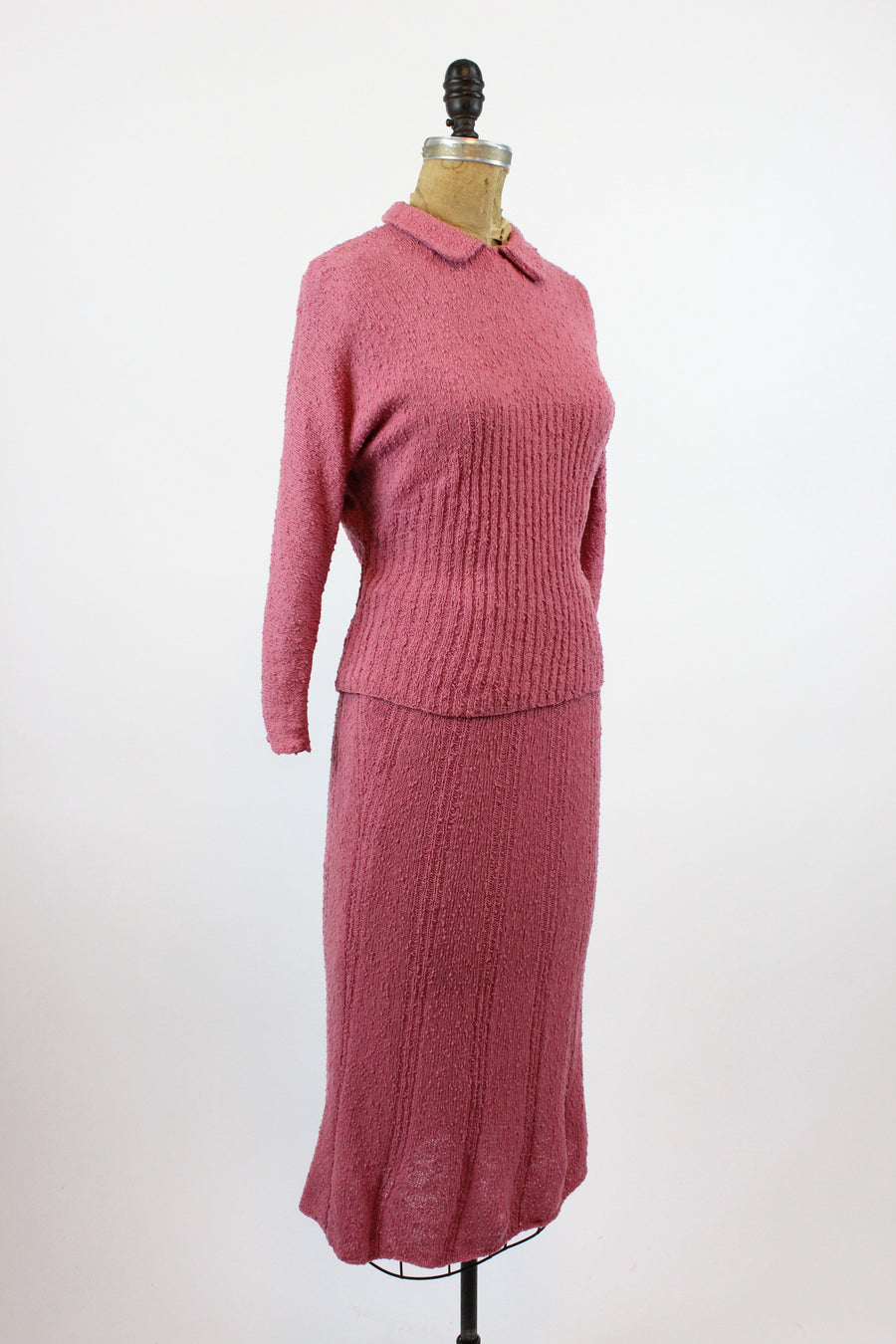 1940s rose knit sweater and skirt small medium | vintage sweater dress