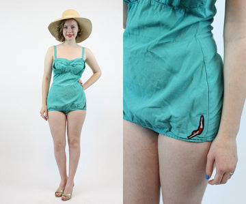 1950s Jantzen one piece swimsuit small | vintage green pin up romper playsuit