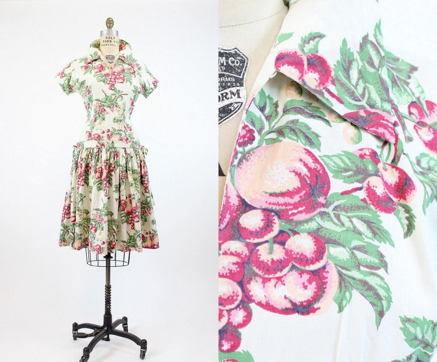 1940s fruit print novelty dress small | apples cherries berries print
