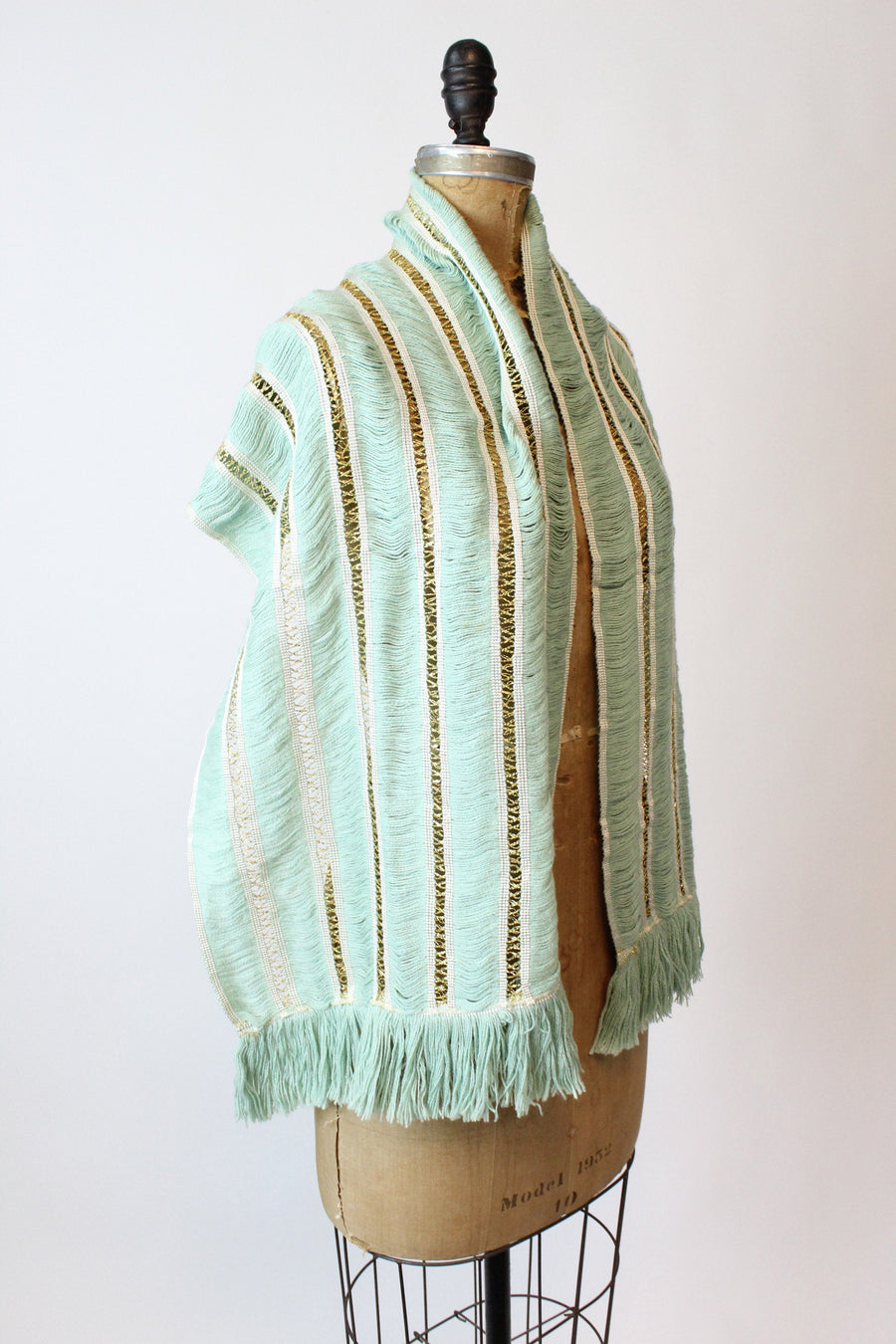 1950s gold and pistachio scarf | vintage fringe wrap