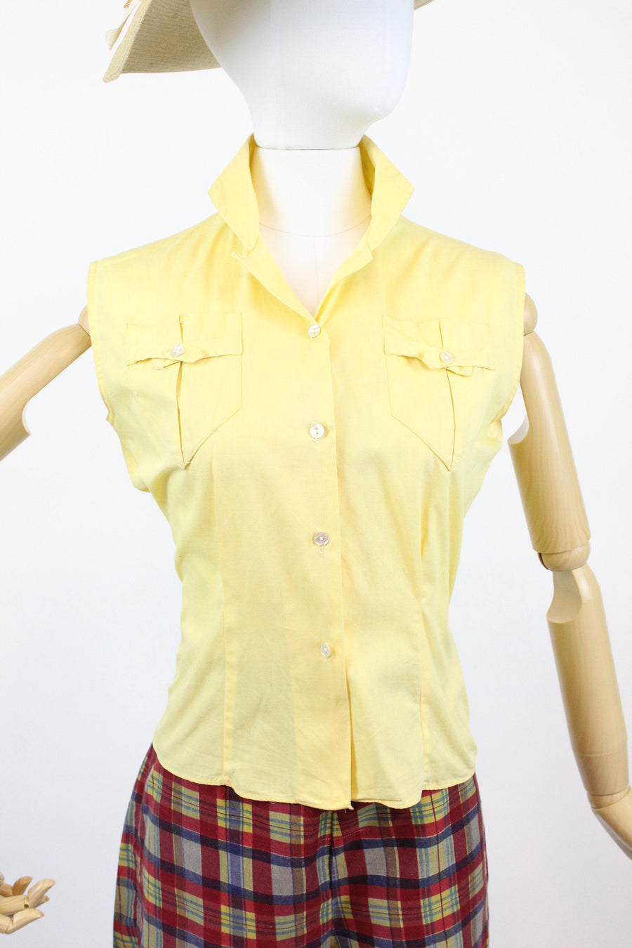 1950s cotton blouse small medium | vintage butter yellow top