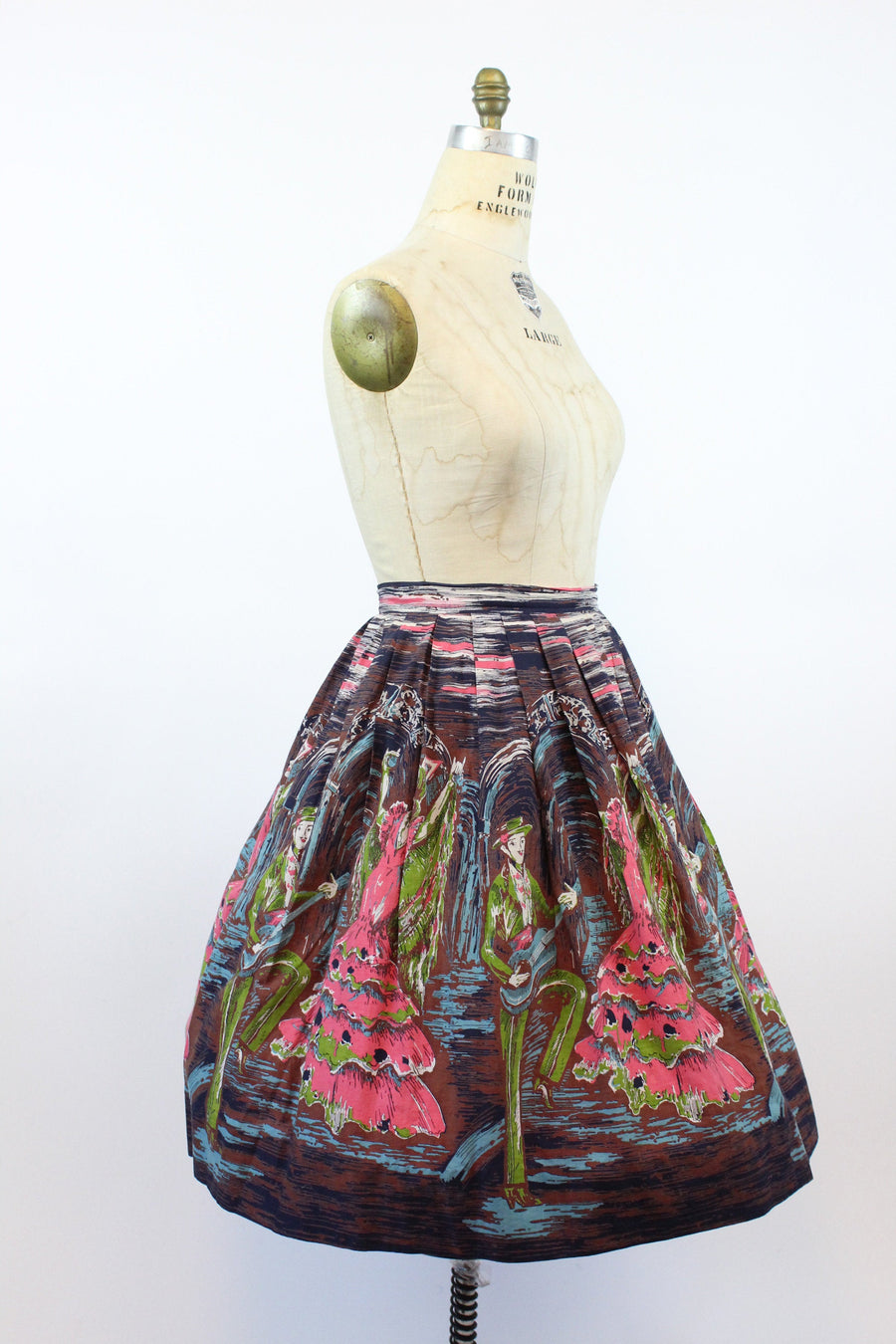 1950s flamenco dancers skirt medium | vintage novelty print