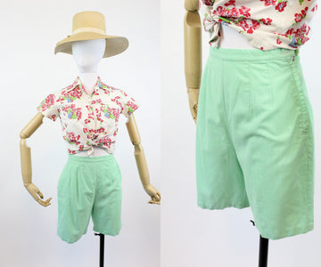 1950s mint cotton shorts xs | vintage bradley shorts