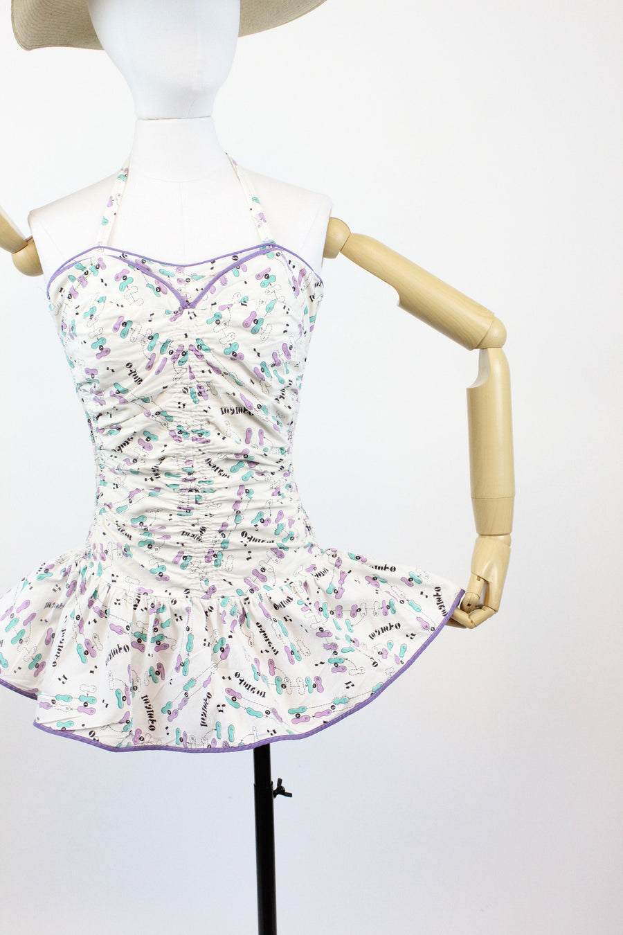 1950s novelty print swimsuit | vintage mambo steps cotton romper