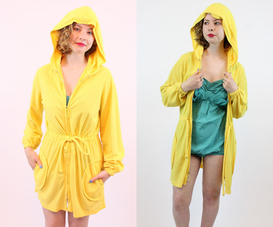 1960s terry cloth beach cover up | vintage hooded jacket