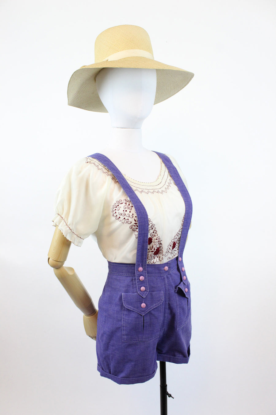 1960s suspender overall romper small | vintage overalls shorts cotton | new in