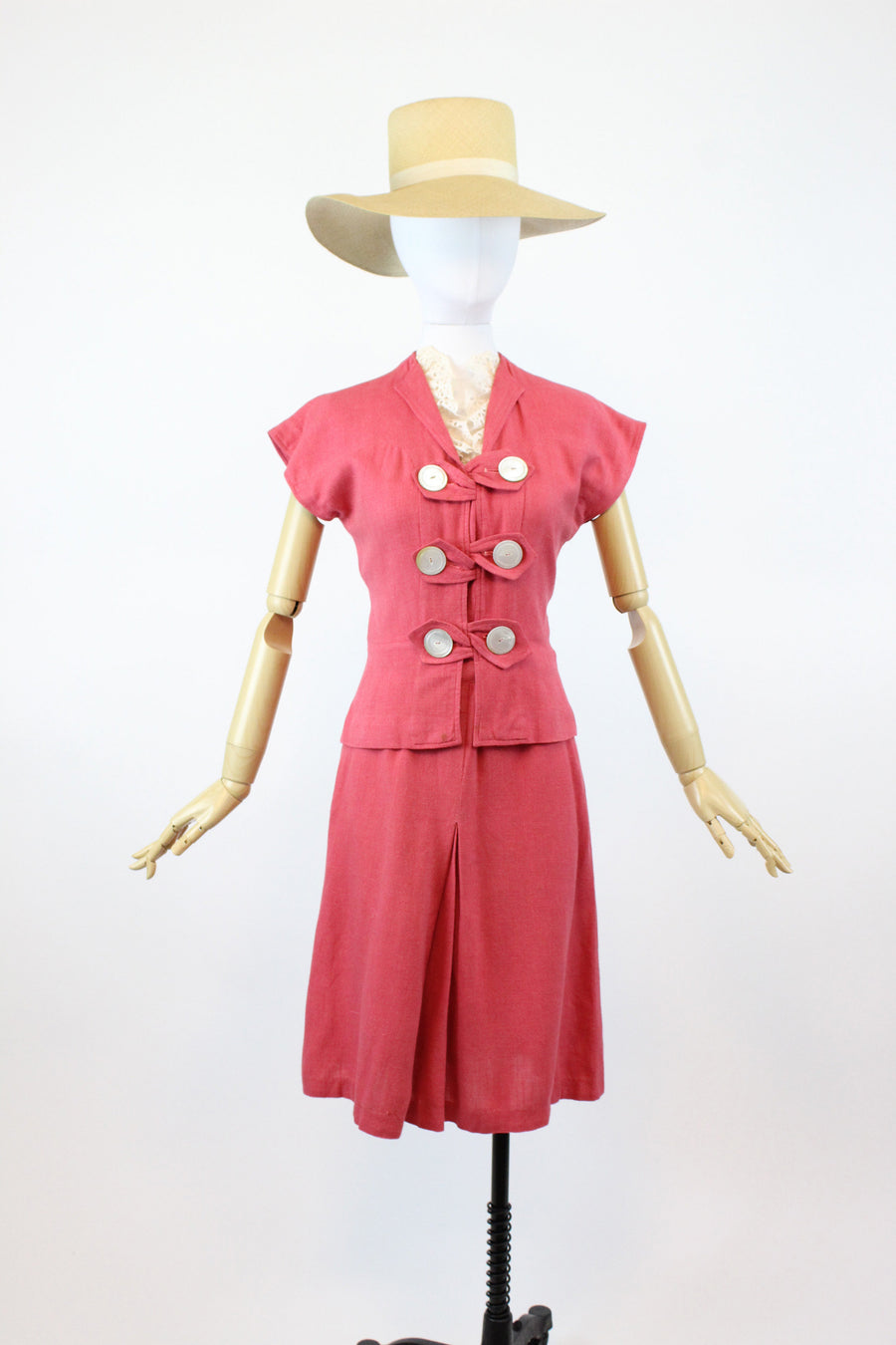 1930s 1940s linen set suit xs | vintage jacket and skirt | junior guild new in