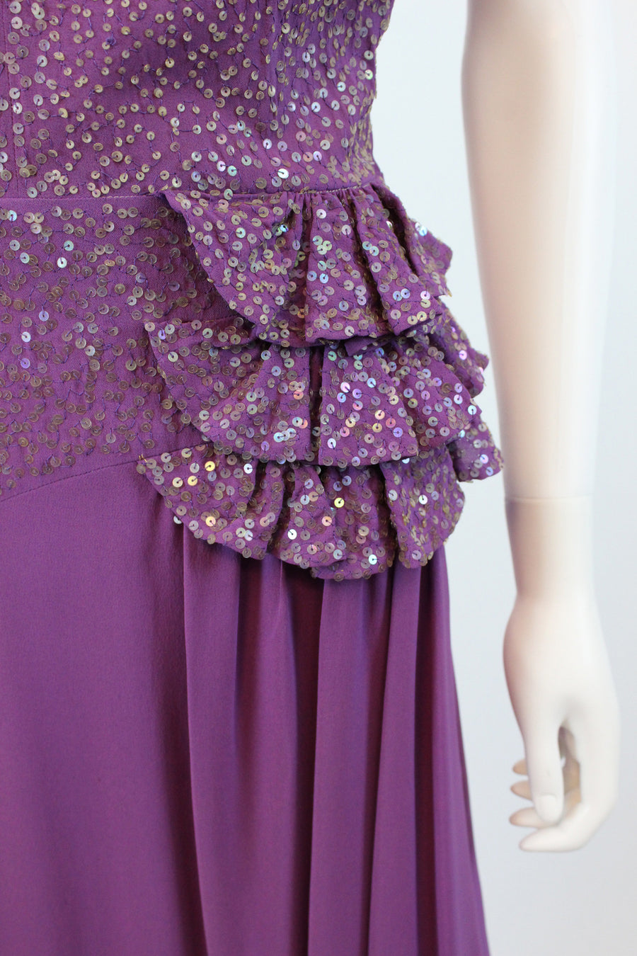 1940s sequin rayon sarong dress | vintage 40s purple gown | small