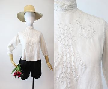 vintage edwardian eyelet lace blouse small | antique cotton top
