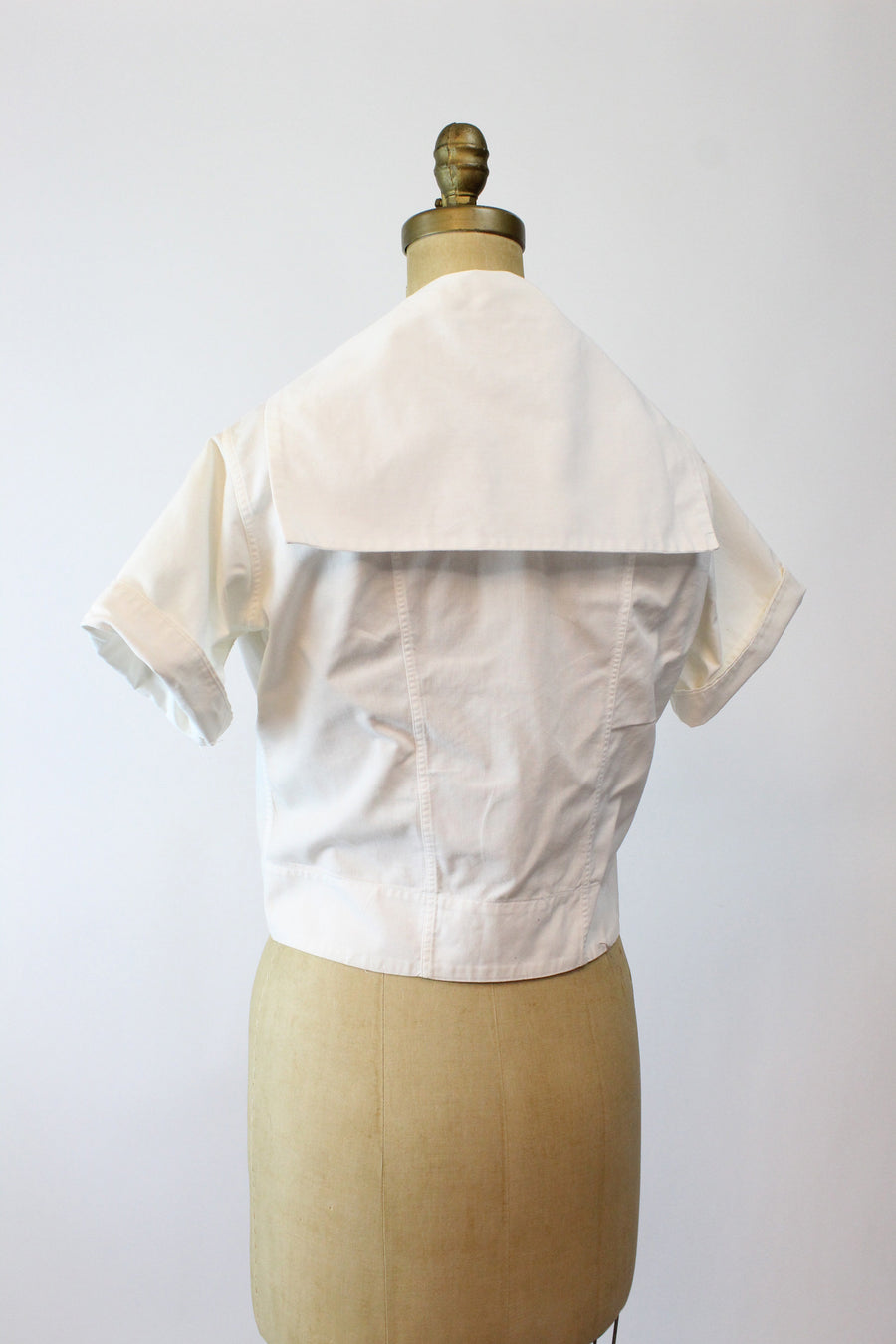 1940s cotton middy blouse small medium | vintage gym cotton blouse