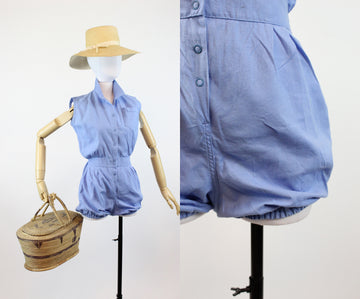 1950s cotton gym romper playsuit xs | vintage shorts