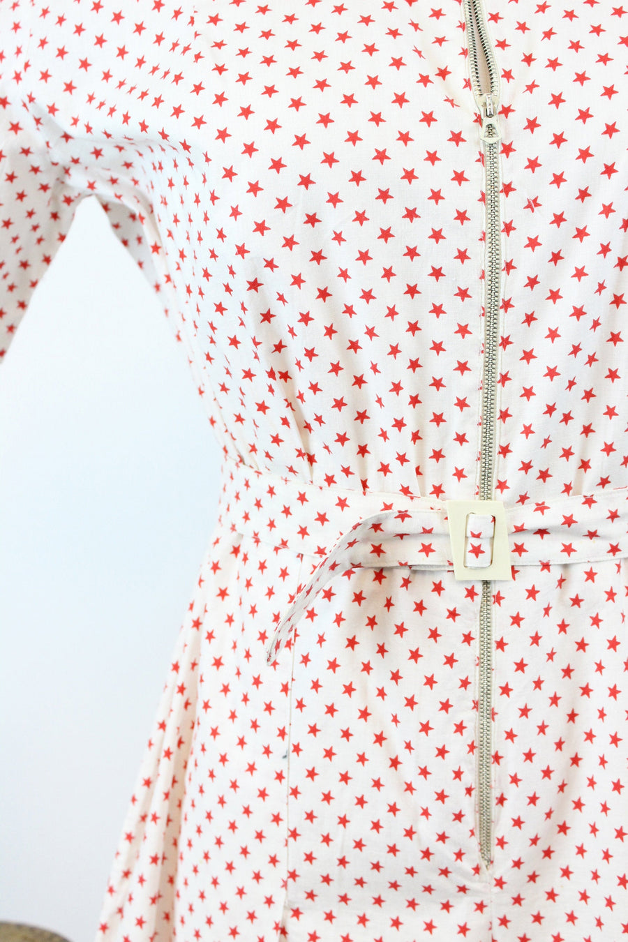1940s star print romper medium large | vintage novelty print cotton playsuit