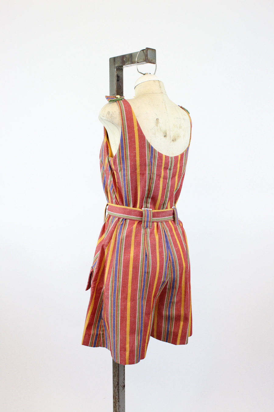 1960s striped nautical romper medium large | vintage cotton playsuit jumpsuit