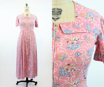 1940s dressing gown dress large | vintage cotton dress floral zip front