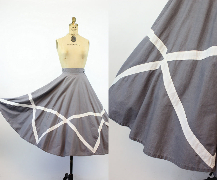 1950s cotton grid skirt xs | vintage circle skirt | JMC