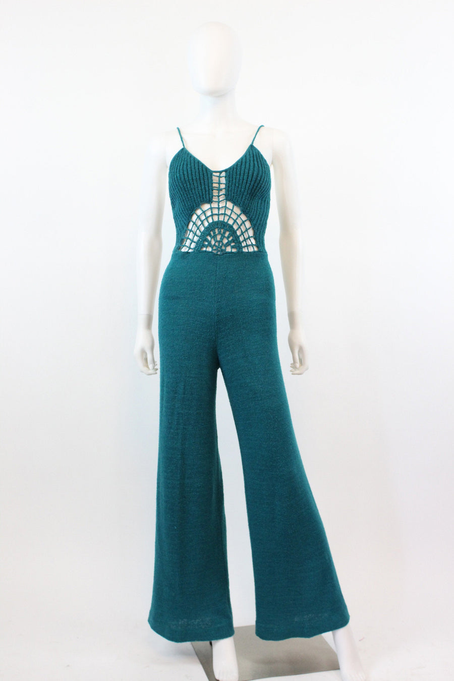 1970s knit spiderweb wide leg jumpsuit small | vintage teal midriff revealing one piece