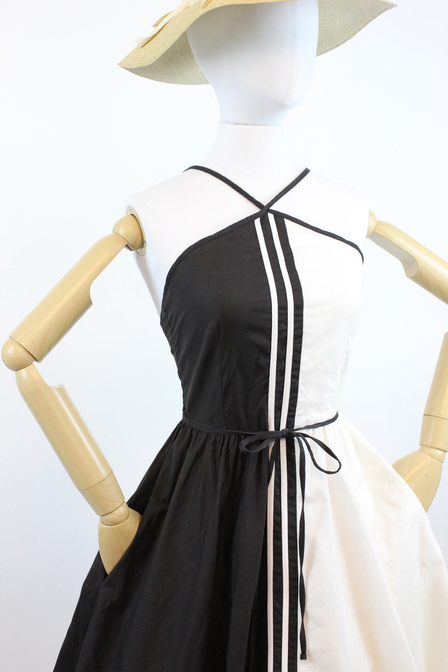 1960s Lanz halter dress xs | vintage black and white cotton sun dress | new in