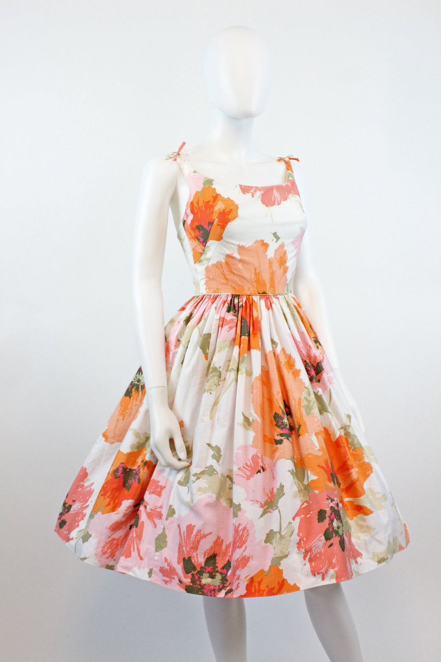 1950s poppy print dress xs | vintage triple strap cotton sun dress | new in