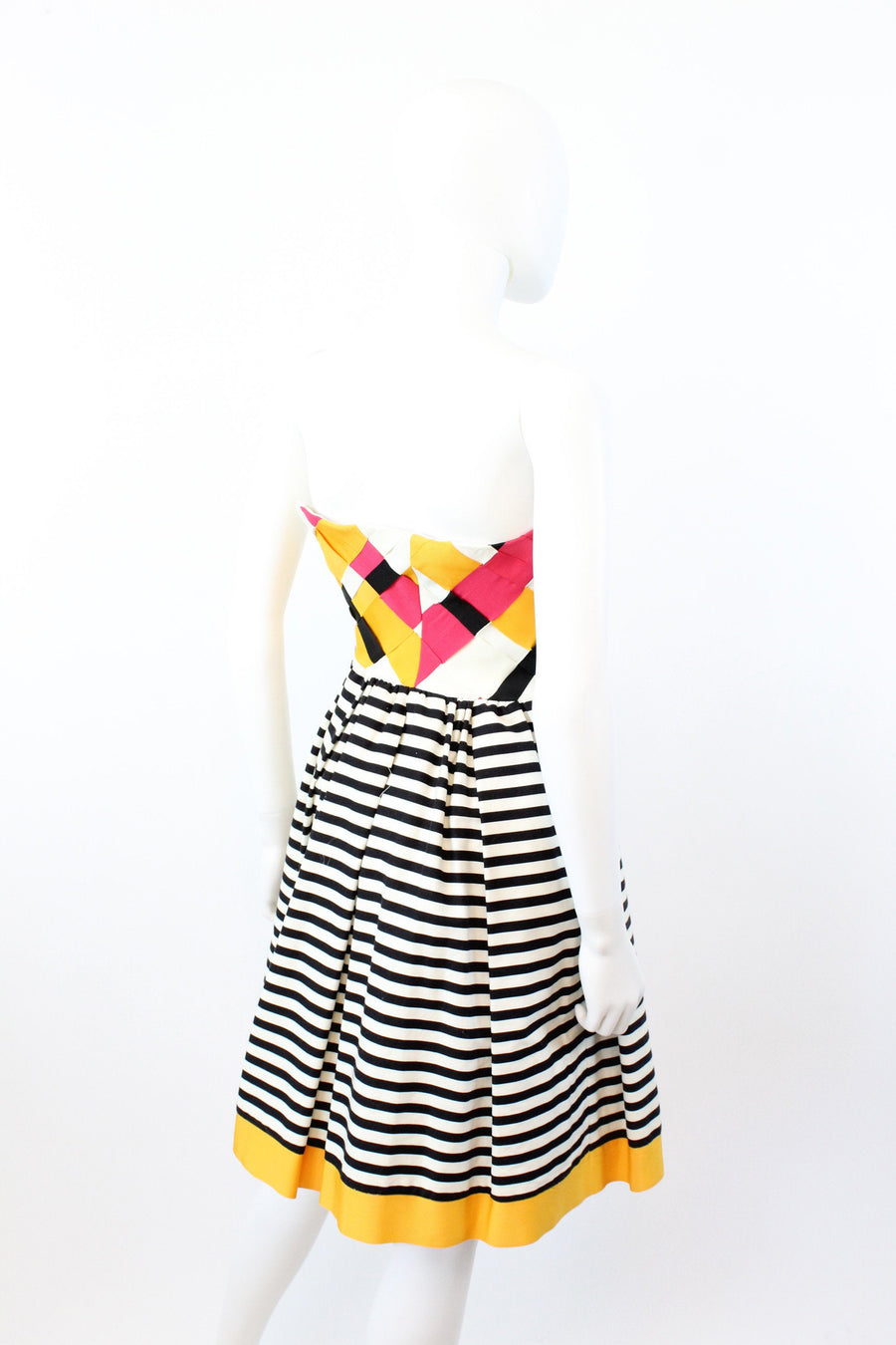 1980s Victor Costa strapless dress xxs  | vintage ribbon and cotton dress | JMC