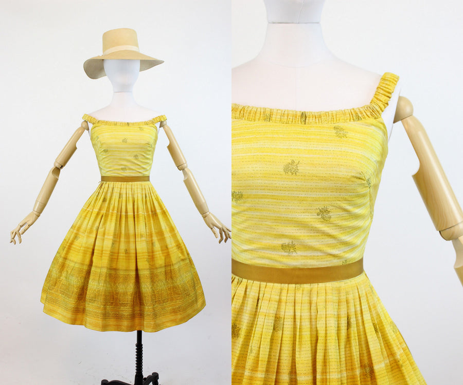 1950s The Sidneys indian silk dress xxs | vintage sari off shoulder dress