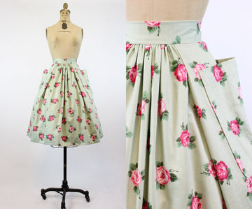 1950s rose print skirt xs | vintage cotton full skirt pockets | new in