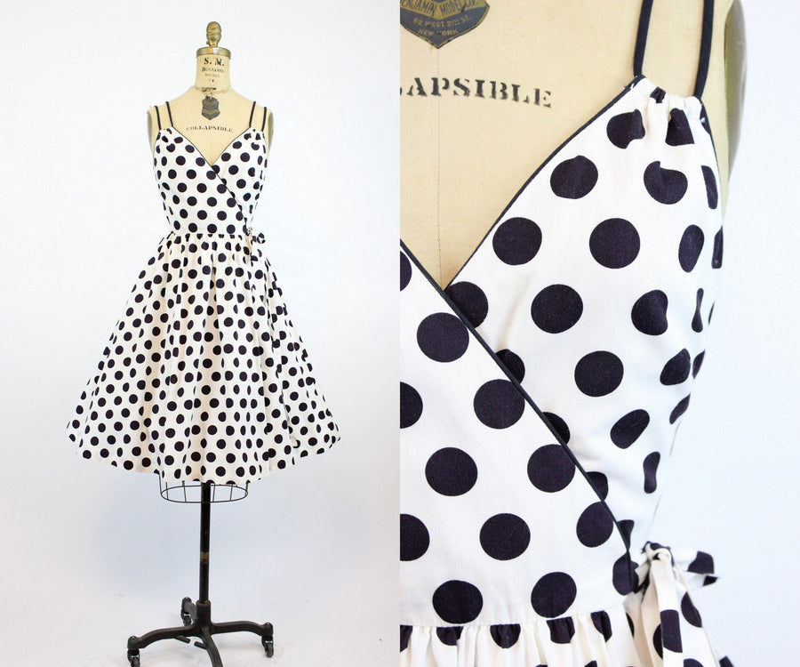 1960s Lanz wrap dress xs small | vintage polka dot cotton sun dress | new in