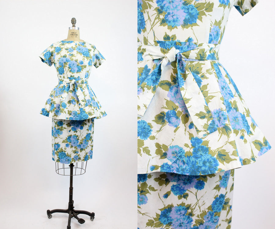 1950s blue rose peplum dress xs | vintage cotton dress with sash | new in